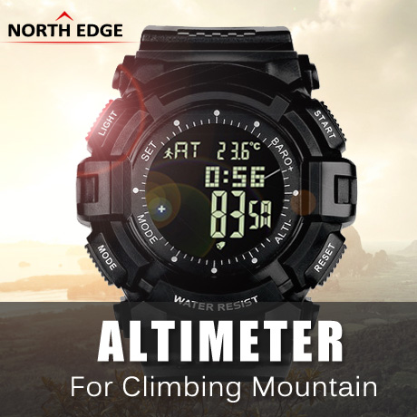 NORTHEDGE digital watches Men hours watch men's outdoor clock fishing weather Altimeter Barometer Thermometer Pedometer shock - NORTH EDGE A Store store