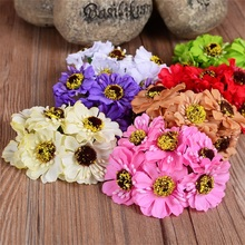 6pcs/lot 14colors Silk Cherry Blossoms Small Artificial Poppy Bouquet Wedding Decoration Mini Rose Flowers For DIY Scrapbooking(China (Mainland))