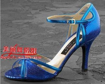 Free shipping Stunning blue PU Latin dance shoes women's ballroom dancing shoes high heeled 8.5cm