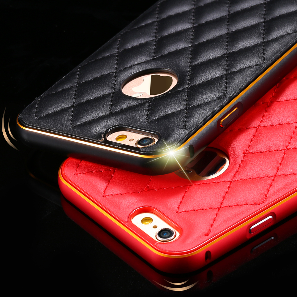 For iPhone6 Metal Case 2 In 1 Style Fashion Grid Skins Aluminum Frame Leather Case For iPhone 6 Plus 5.5 / For iPhone 6 4.7 inch(China (Mainland))