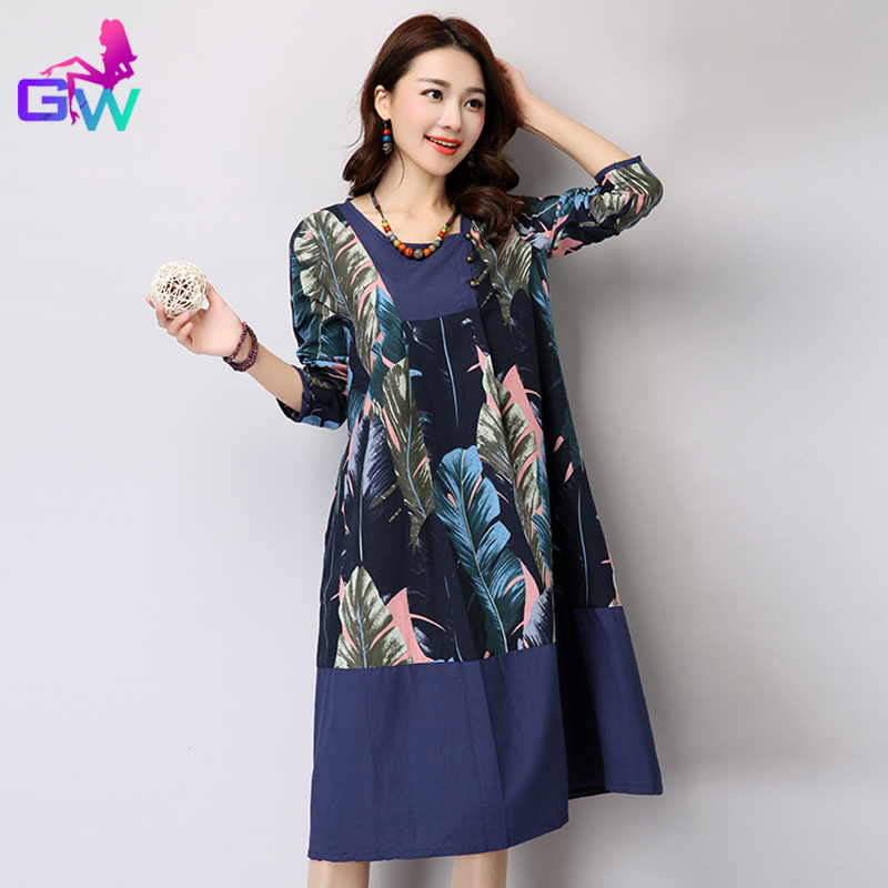 Women Dress 2016 Spring Winter Chinese Clothing Ethnic Style Vintage Loose Dresses Long Sleeve