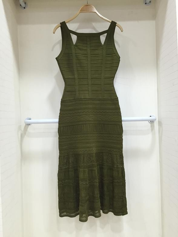 Top Quality Black Dark Green Sexy Sleeveless Hollow Out Rayon Ankle Length Bandage Dress Party Fashion Dress