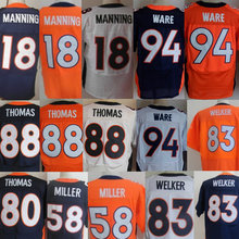 Men's #58 Von Miller Jerseys Adult #18 Peyton Manning #12 Paxton Lynch #88 Eemaryius Thomas Navy Blue Orange Elite 100% Stitched(China (Mainland))