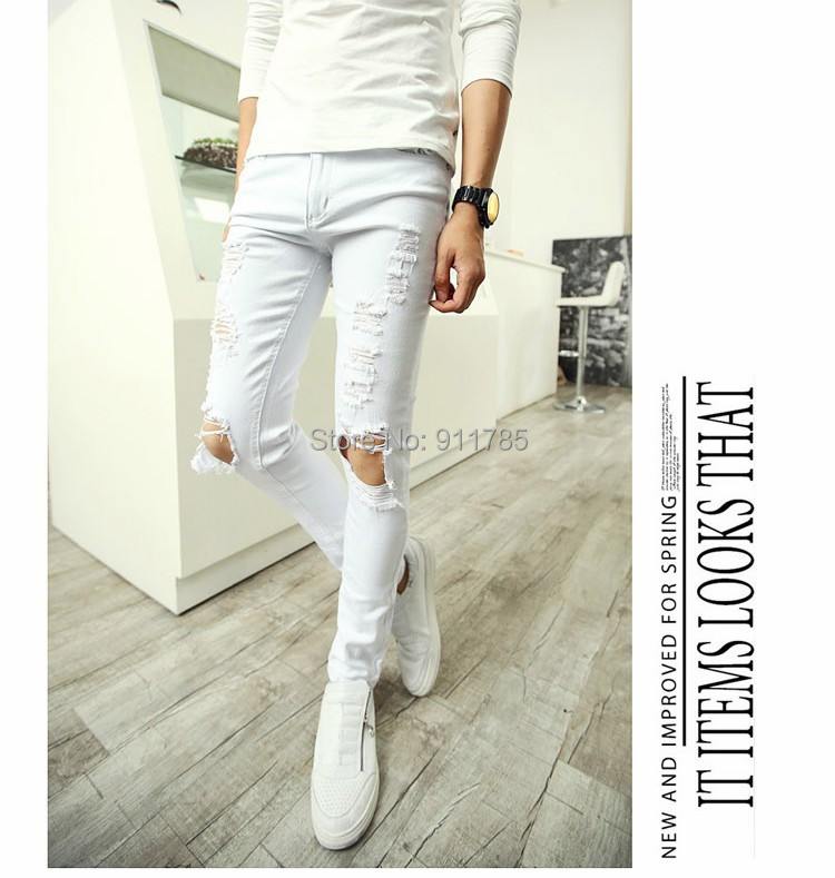Wholesale-2015 New Punk Style White Knee Hole Scratch Jeans for ...