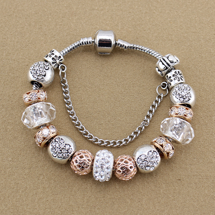 Gold Plated Silver Antique Beads: Luxury Antique Silver Plated Charm Bracelets & Bangles