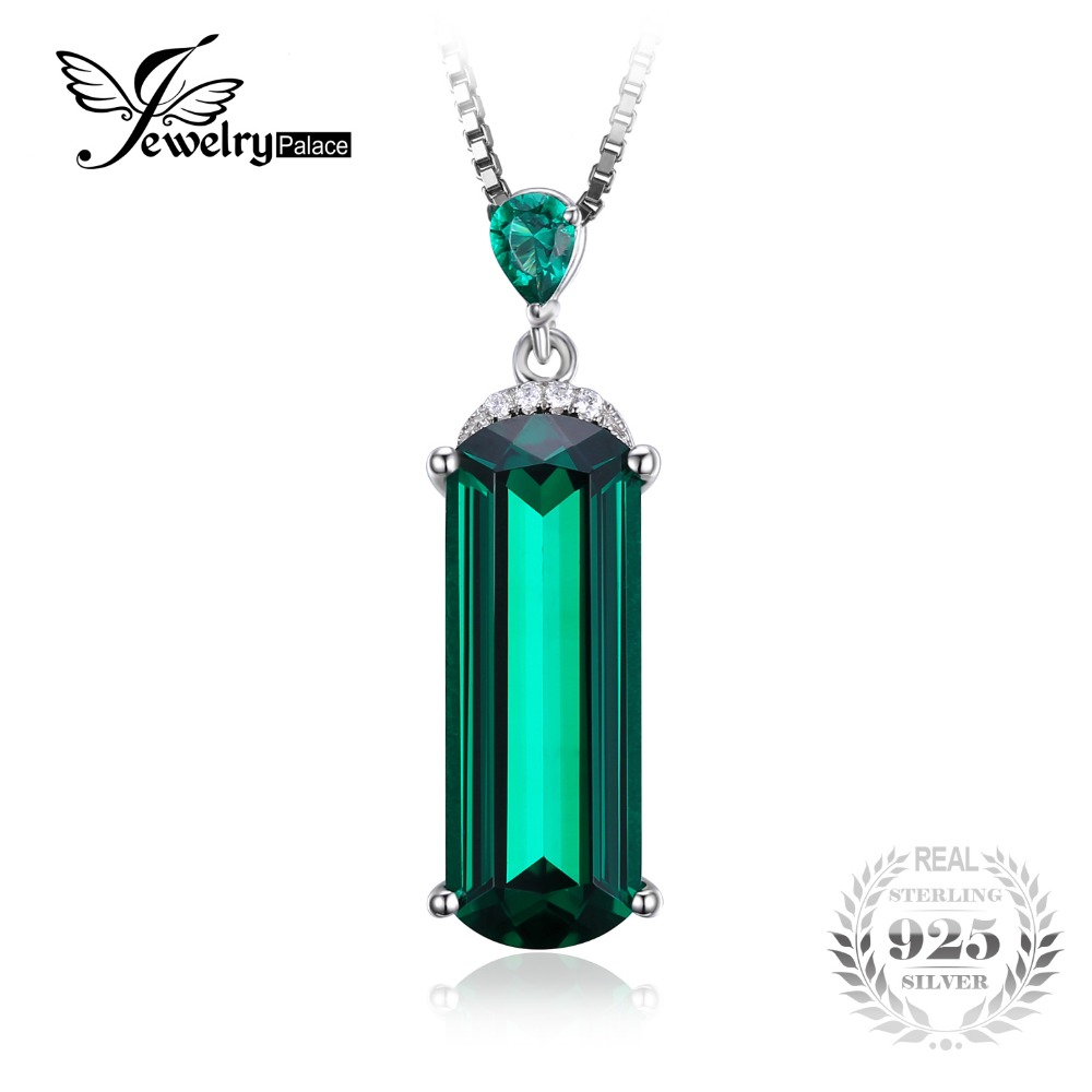 JewelryPalace Fancy Cut 4.4ct Green Russian Nano Created Emerald 925 Sterling Silver Pendant Luxury Jewelry For Women Party Gift(China (Mainland))