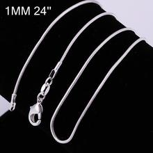 Free Shipping,925 Sterling Silver Single chain,1MM Snake Chain -24′,925 Sterling Silver,Wholesale Fashion Jewelry RM24