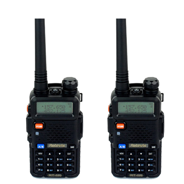 2 pcs Retevis RT 5R Walkie Talkie 5W 128CH VHF+UHF Transceiver DTMF VOX Dual Band Dual Frequency Portable Radio A7105A