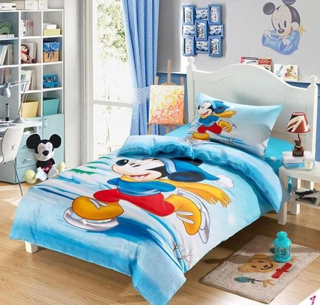 Oil Painting 100 cotton 2015 blue mickey mouse bedding sets twin sheets bed set kids bedding sets girls boy duvet cover set(China (Mainland))