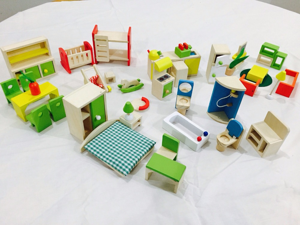 beech wood top quality 1/12 J&J DOLLS HOUSE FURNITURE WOODEN SET FOR dollhouse(China (Mainland))