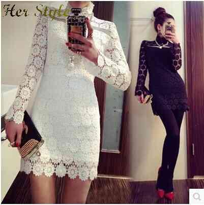 Free Shipping 2015 spring quality ladies sexy elegant slim cut bag hip make lace dress female 1430953504(China (Mainland))