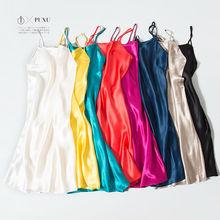 Vestido de seda SONO de SEDA REAL das mulheres sleepwear casa saudável Deslizamentos vestido de VENDA 2016 nova primavera VERMELHO Preto ROSA