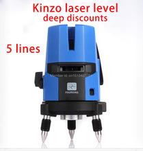 Envío gratis KINZO línea láser de línea de la cruz nivel láser rotativo autonivelante 5 líneas 4V1H 3 P láser 360 línea gratis niveles