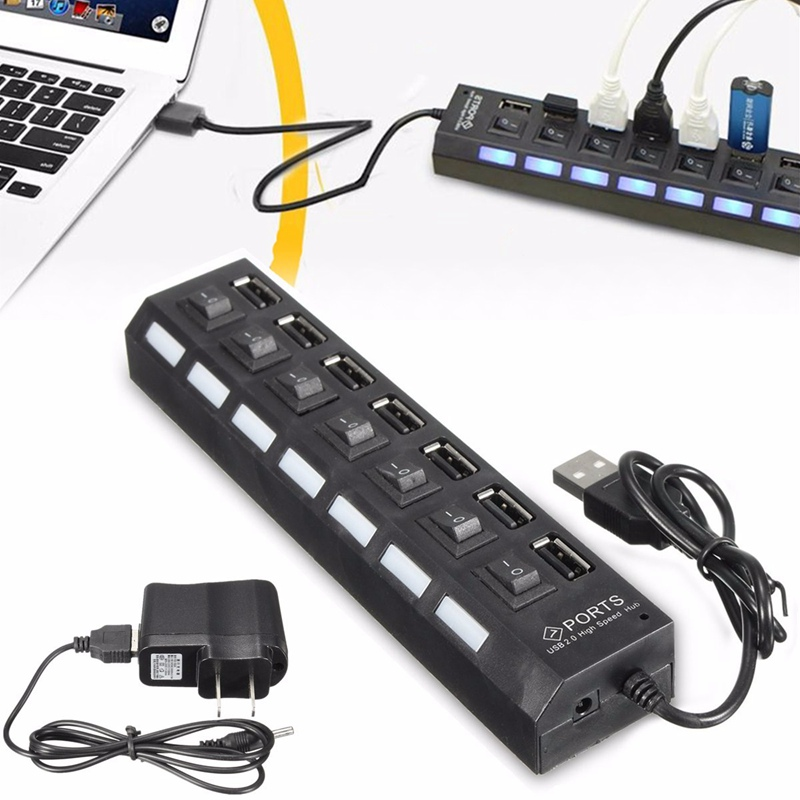 High Power USB Hub 7 Ports Universal High Speed ON/OFF Switch Adapter Cable LED Hub USB Splitter for PC Computer Notebook Laptop(China (Mainland))