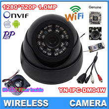1280*720P Wireless IP Camera Indoor Dome Security Camera HD Network 1.0mp  wifi camera day nignt vision Audio output support