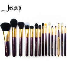 Jessup Pro 15 pcs pincéis de maquiagem em pó corretivo fundação sombra delineador Lip escova roxo / ouro