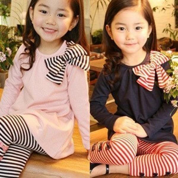 Lovely Girls Clothing Set Long Sleeve Shirts Clothing Sets Bow Striped Leggings Pajama Suit Clothes Set 3-8 Y(China (Mainland))