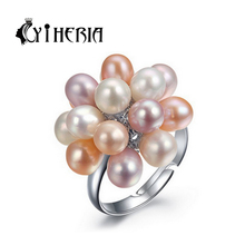 CYTHERIA pearl jewelry,genuine natural Pearl rings for women ,adjustable ring 3 color,wedding rings,2016 new & gift box(China (Mainland))