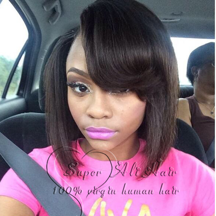 8A Brazilian Human Real Hair Wig For Black Women,Glueless Full Lace Wig,Short Bob Full Lace Wig Virgin Lace Front Wig With bangs<br><br>Aliexpress