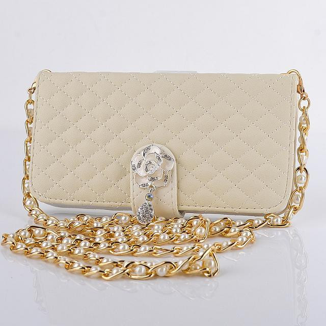 New Luxury Shoulder Bags For iPhone 6 6s 6Plus Lattice style Elegant Women Wallet Leather pearl Metal Chain Jewelry Phone Case