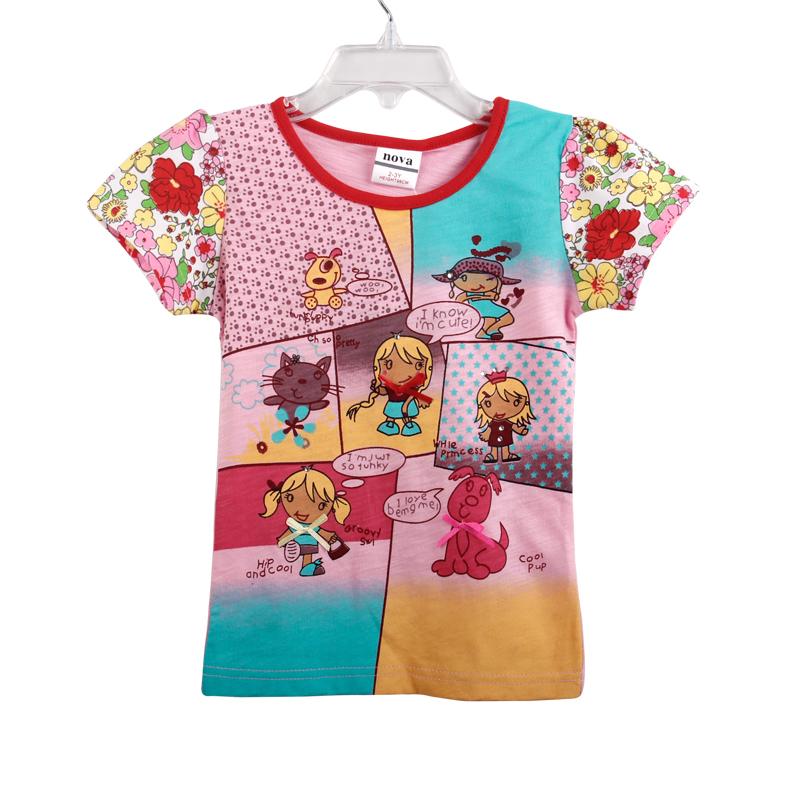 Nova kids wear new 2013 baby girls' fashion cotton tops & tees printed lovely gilrs casual girls t shirts K3990