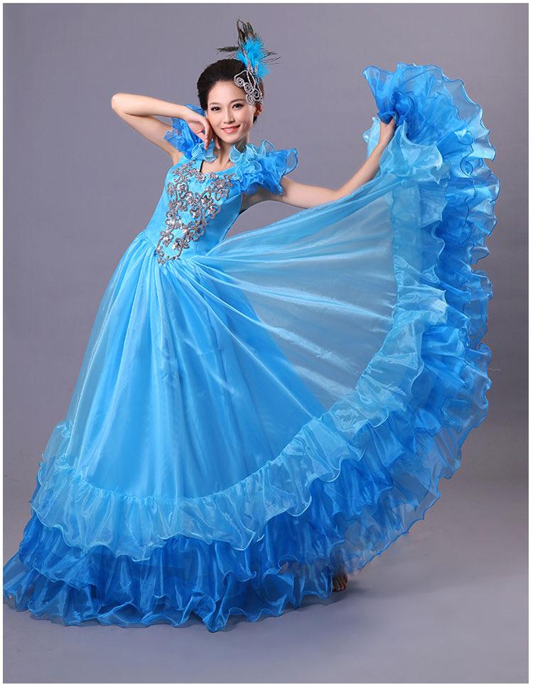 Spanish Bullfight Belly 540 degree Dance Dress Skirt Long robe Flamenco Skirts spaanse flamenco jurk Dresses For Women Girls
