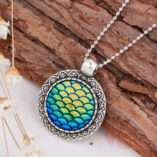 Buy DoreenBeads Handmade Druzy Drusy Resin Cabochon Fish Scale Mermaid Pendant Necklace New Fashion Bohemia Woman Jewelry 1Piece for $1.05 in AliExpress store