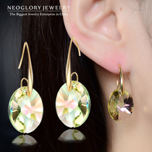Neoglory Austria Crystal 14K Gold Plated Charm Drop Dangle Earrings for Women Jewelry Accessories 2015 New JS9 Crys-e(China (Mainland))