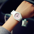 Hot Sale Jelly Silicone Rubber Candy Quartz Watch Wristwatches for Women Girls Students Pink White