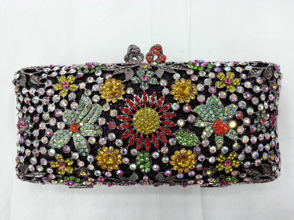 Здесь можно купить  Gift Box Gunmetal Plated Elegant Lady Vintage Rhinestones Shoulder Bags Womens Handbag Evening Crystal Clutch Bag Party Clutches  Камера и Сумки