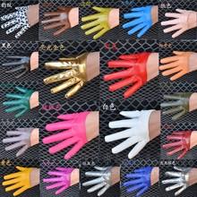Das mulheres moda metade palma completa dedo luvas de couro PU feminino ds hop doce cor luvas de desempenho