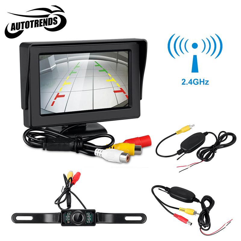 "4.3"" TFT LCD Monitor Car Rear View Camera Wireless Transmitter Receiver Backup Reverse Camera Parking System Night Vision(China (Mainland))"