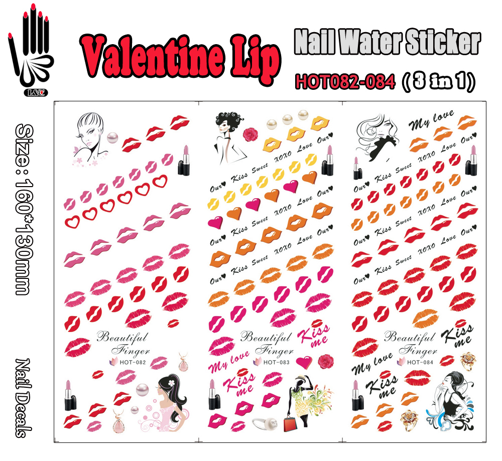 3 Sheets/Lot Finger Nail HOT082-084 Valentine Sexy Lip Nail Art Wraps Water Sticker for Nail Art Decoration (3 DESIGNS IN 1)(China (Mainland))