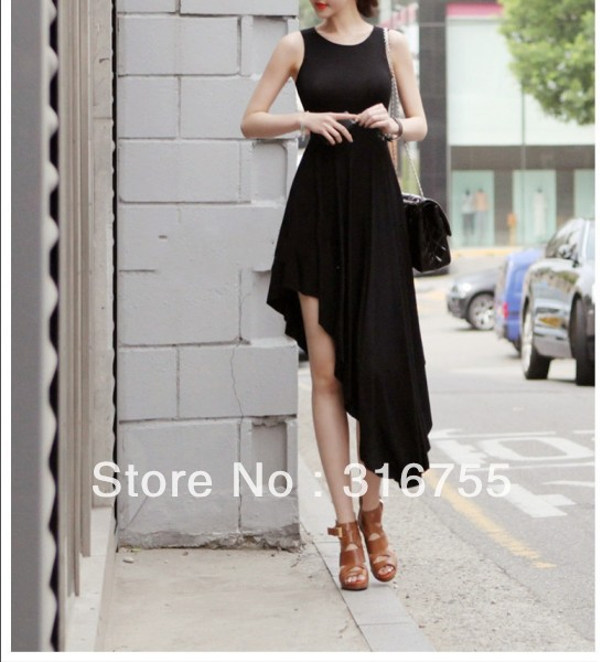 2014 Spring Summer Sleeveless High Waist Irregular Assymetric Chiffon Designer One Piece PartyCasul Maxi Dress, - Lenny Wang's store