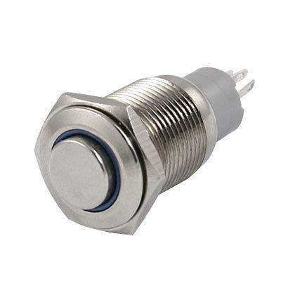 BLUE Led 16mm 12V Stainless Switch Momentary Push Button HFH(China (Mainland))