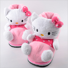 free shipping 2015 hello kitty home indoor slippers, cartoon high to help warm slippers, plush slippers creative(China (Mainland))