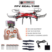 Free shipping X6SW WIFI FPV Real – time Transport video RC helicopter drone quadcopter add 4pcs battery an 1in4 charger as gift