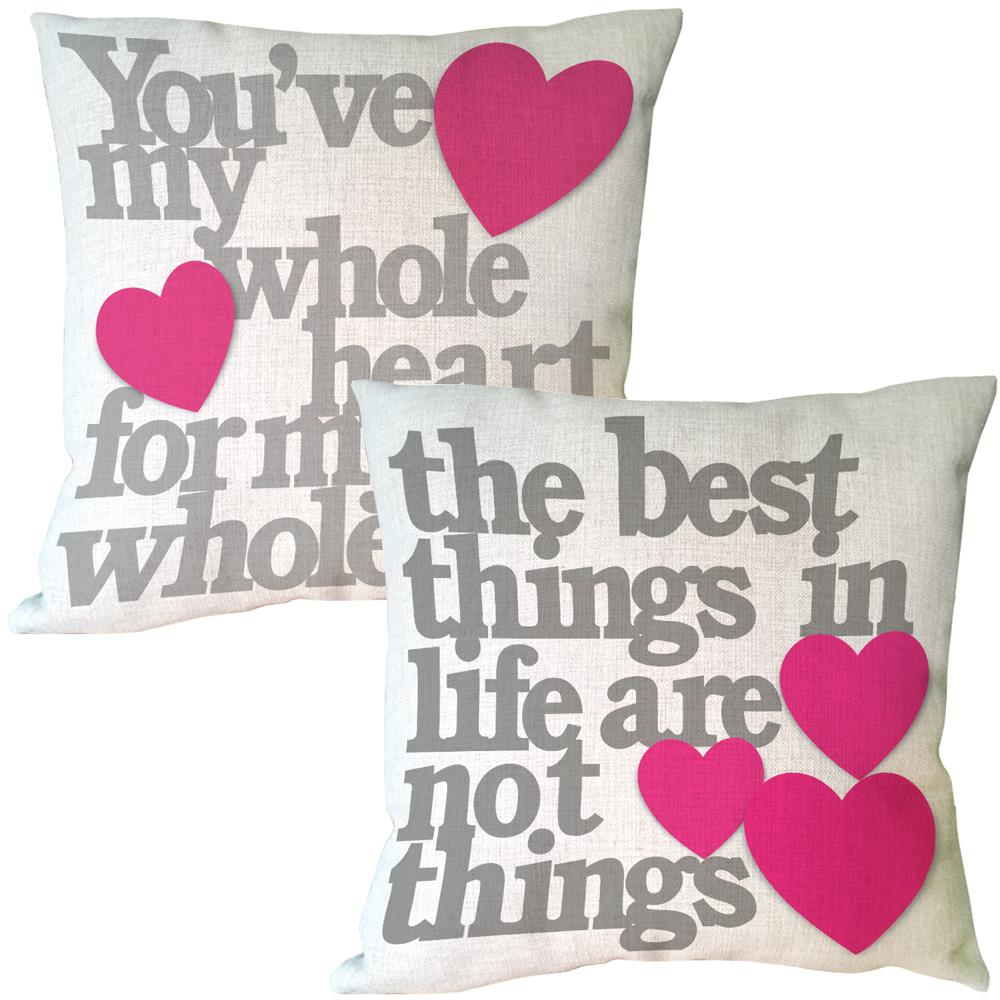 grey letter with pick heart shape printed vintage cushion covers home decor luxury decorative cotton linen