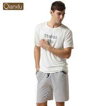 Qianxiu Brand Pajamas Summer Lounge Wear Cotton Trousers Men Modal Pajamas set 1PCS Free shipping(China (Mainland))