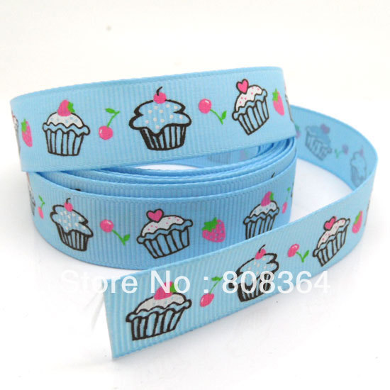 New Sale Ruban Pinypon Free Shipping 5 Yards Blue Strawberries Cake Wide Wedding Craft Printed Grosgrain Ribbon (w02123x1)(China (Mainland))