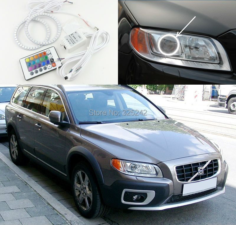 For Volvo XC70 2008 2011 2012 2014 Excellent Angel Eyes kit Multi-Color Ultrabright 7 Colors RGB LED Angel Eyes Halo Ring<br><br>Aliexpress