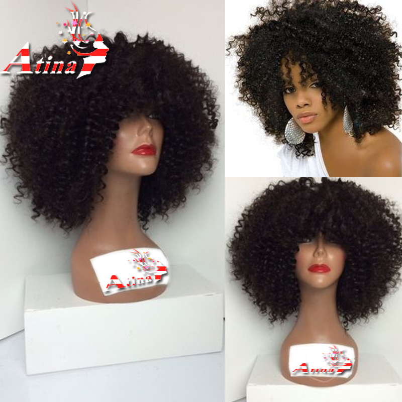 7a glueless lace front wig bob african american women full lace human hair wigs afro kinky curly - Coupe afro femme ...