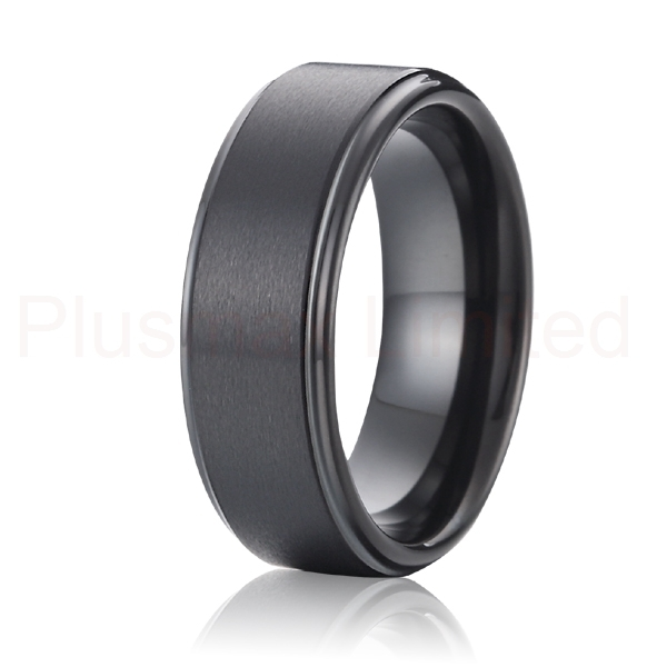 high quality handmade masterpieces classic 8mm black pure titanium rings wedding band anniversary rings for men and women