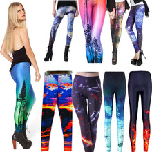 2016 New S To 4XL Size Women Plus Size Galaxy Flaming Fire Black Leggings Elastic Jogging 10 Patterns 3D Sports Pants(China (Mainland))