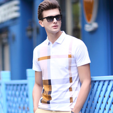 High quality new design men's fashion stirped contrast colors plaid short sleeve summer t shirt