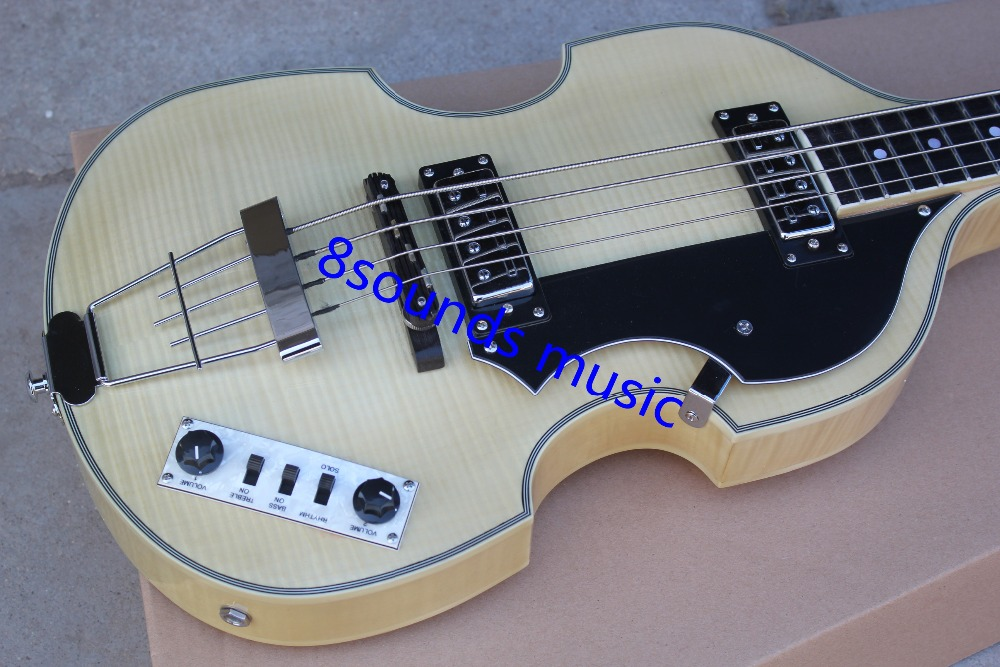 free shipping  Factory custom shop High Quality Hofner Violin bass 4 String bass Natural color flame maple body<br><br>Aliexpress