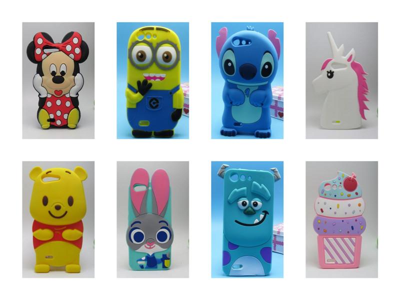 Cartoon New Cute Stitch Minnie Winnie Horse Minions Sulley Cupcake Judy 3D Silicone Soft Cover Back Case ZTE Blade X7