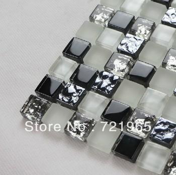 Wholesale glass mosaic kitchen backsplash tile bathroom tiles CGMT033 black and white glass mosaic tiles free shipping