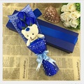Factory direct sale Best selling teddy bear and rose soap flowers creative Teacher s day and