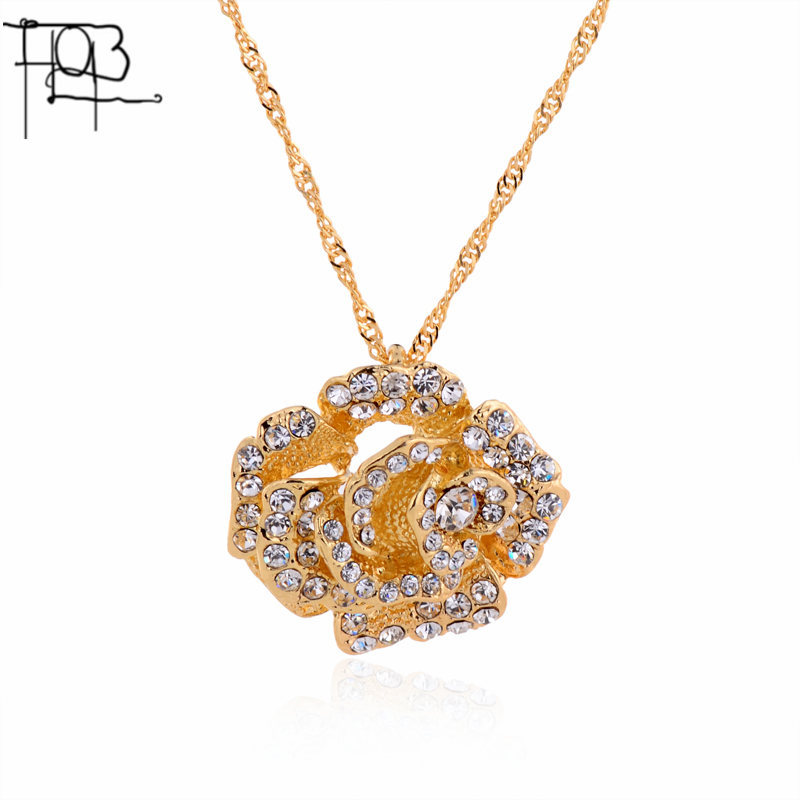 2016 New Arrivals18K Gold Plated Austrian Crystal Pendant Necklace Fashion Jewelry Crystal Flower Pendants Women Lady(China (Mainland))
